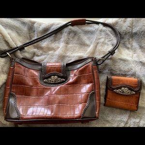 MC Handbags Faux Croc Purse and Matching Wallet